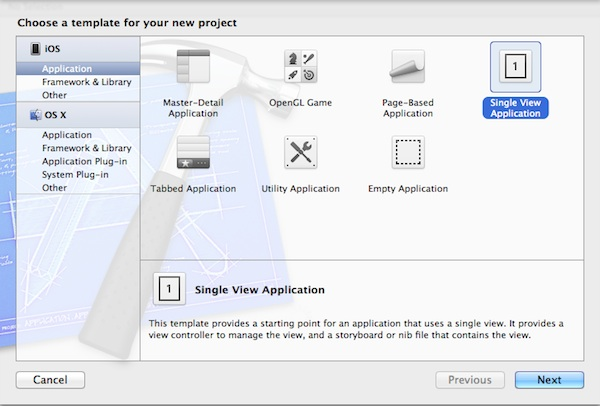 Create a new project using the Single View Application template